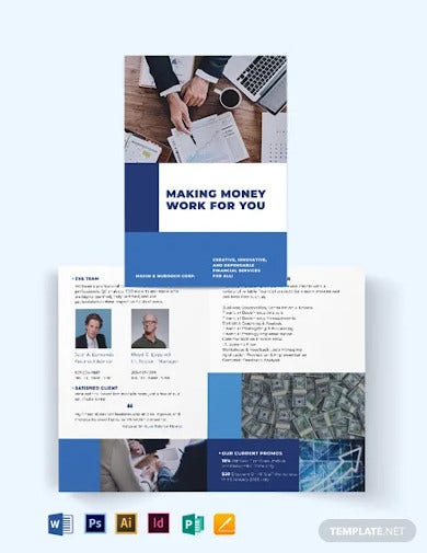 financial services bi fold brochure template