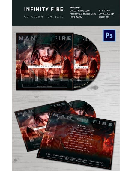 fire cd album template psd format