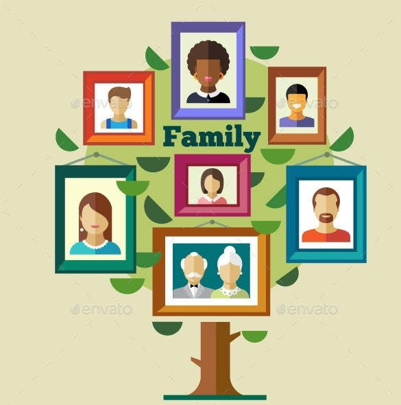 flat photo family tree template