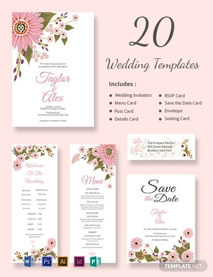 floral wedding templates includes 20 designs
