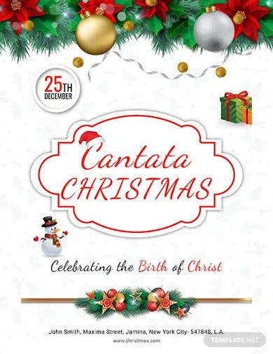 free cantata christmas poster template