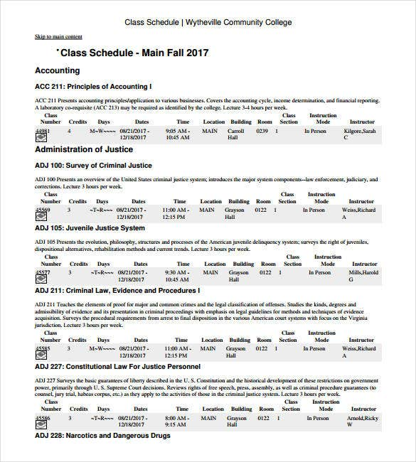 Class Schedule Template   Free Sample Example Format Download