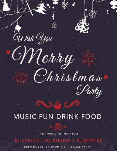 free elegant christmas party poster template