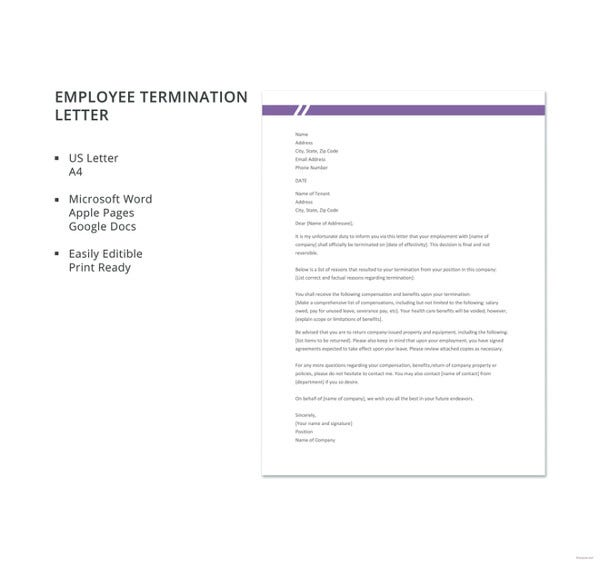Free Termination Letter Template 23 Free Sample Example Format