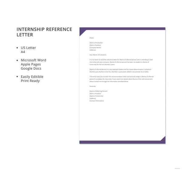 free internship reference letter template