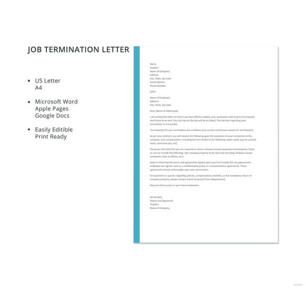 free job termination letter template