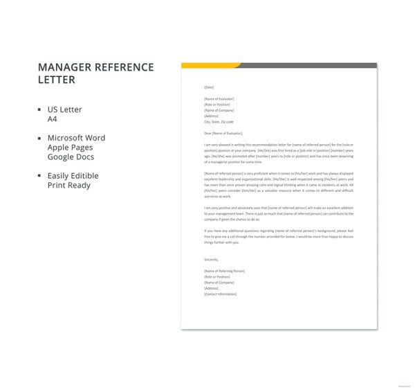 free manager reference letter template