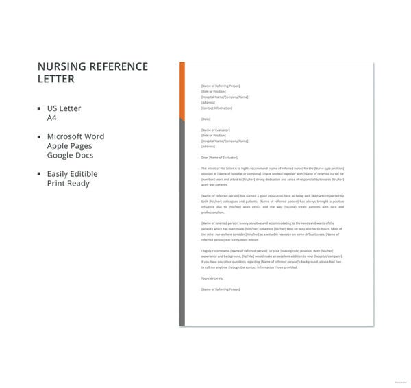free nursing reference letter template