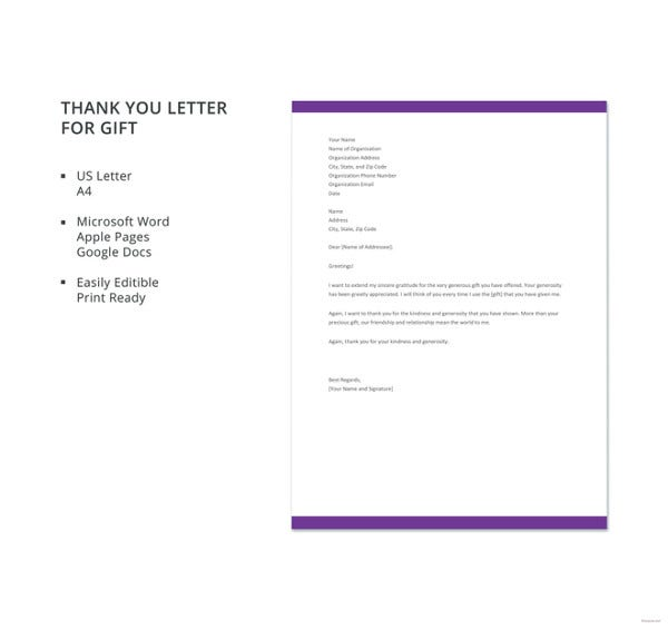 free thank you letter for gift template