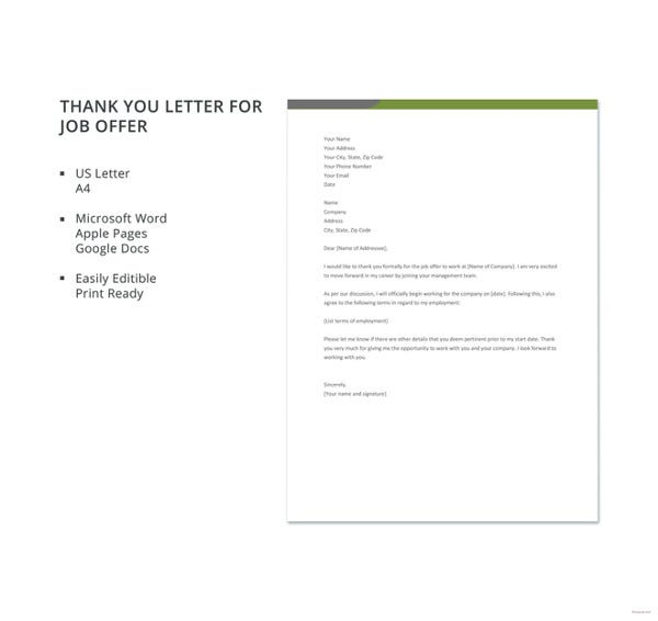 free thank you letter for job offer template