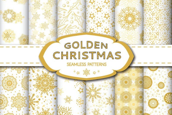 golden christmas seamless pattern