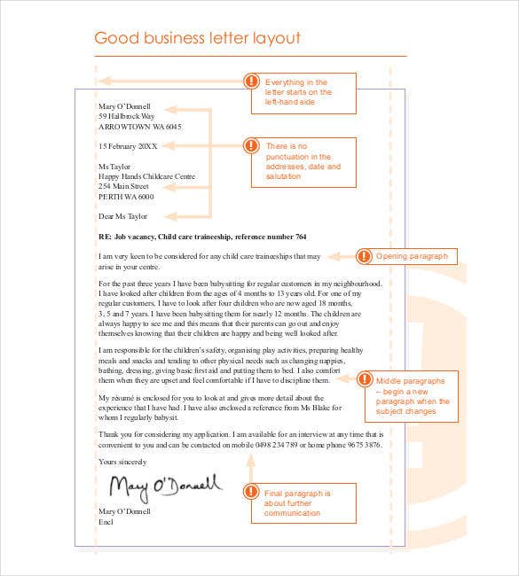 Good Model Business Letter Layout