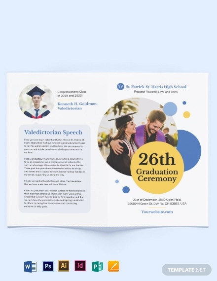 graduation ceremony bi fold brochure template2