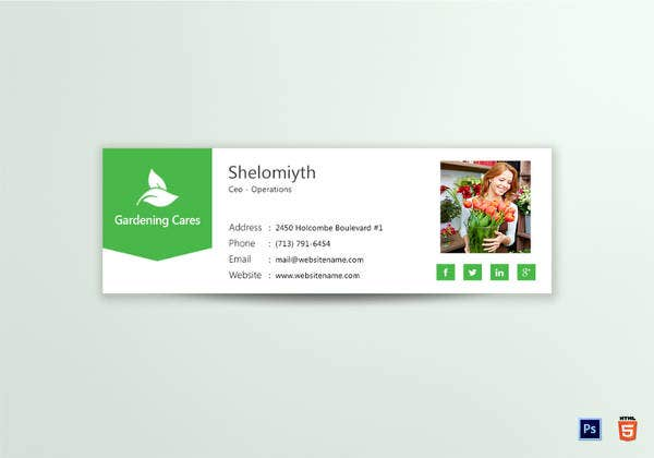 html email signature for gardener garden cleaner
