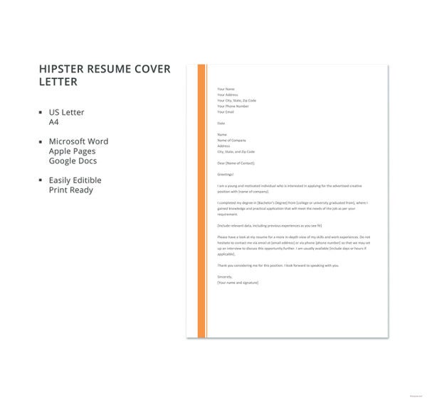 hipster resume cover letter template