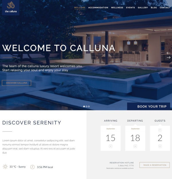 hotel resort spa psd template