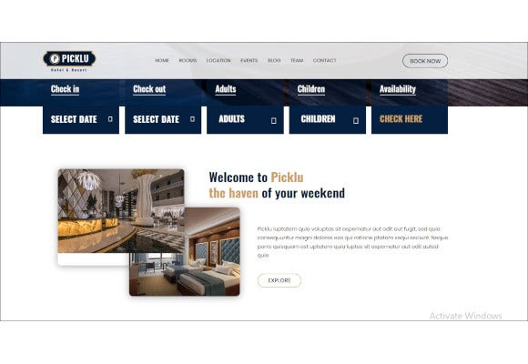 hotel and resort bootstrap 4 template