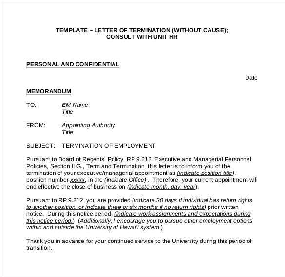 human resources termination letter sample termination letter without cause. Resume Example. Resume CV Cover Letter