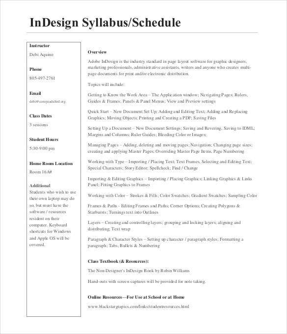 indesign syllabus schedule