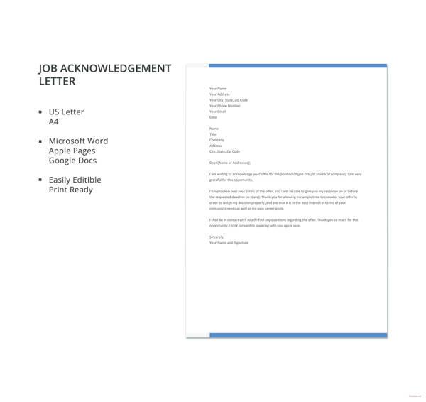 job acknowledgement letter template