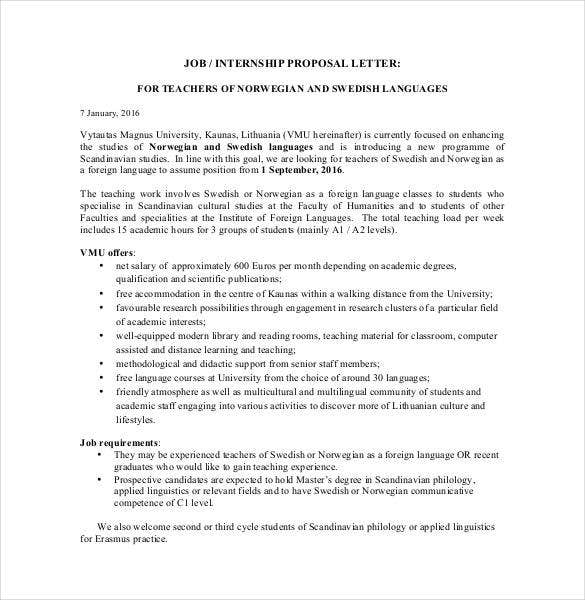job internship proposal letter pdf