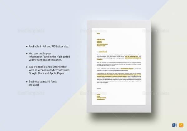 job-performance-warning-letter-template