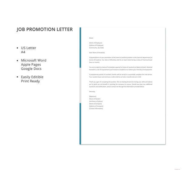 19 Promotion Letter Templates  Business Templates