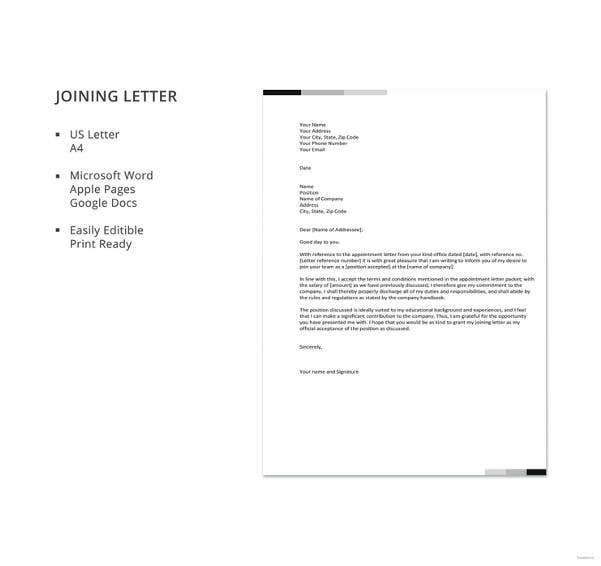 joining letter template