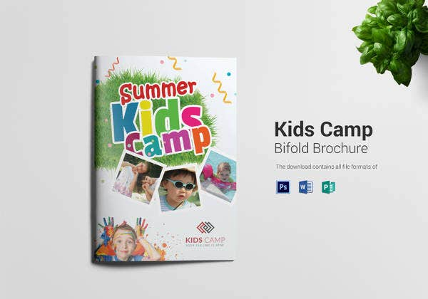 kids summer camp bi folding brochure
