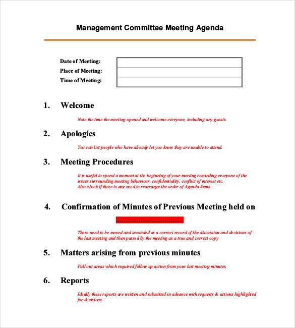 management committee meeting agenda1