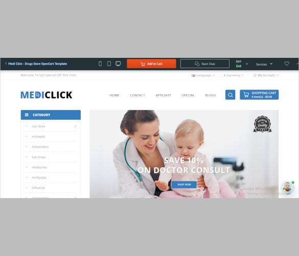 medi click drugs store opencart template