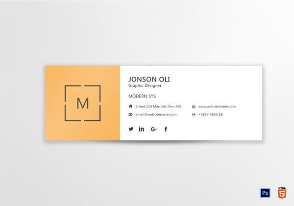 modern email signature template in html