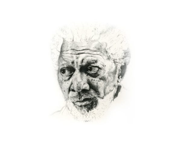 morgan freeman pen pointillism drawing
