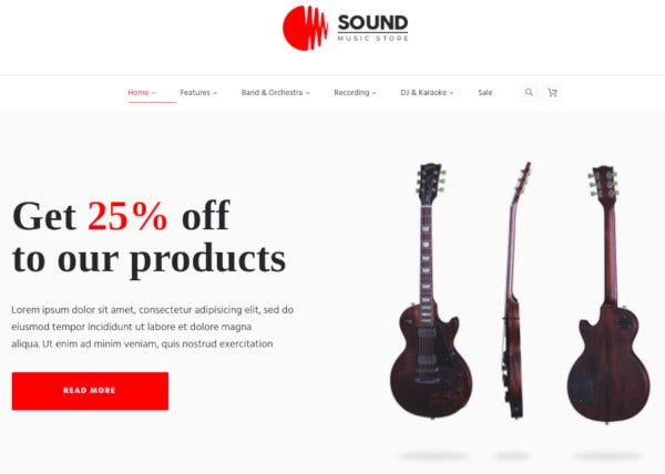 musical instruments online store wordpress theme