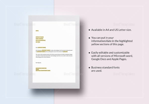 notice-of-debt-acknowledgement-letter