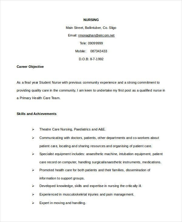 nursing cv template
