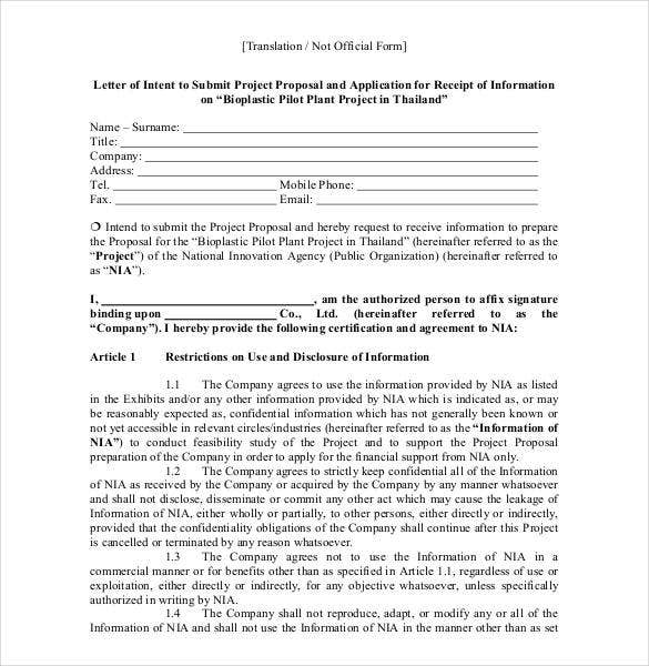 rfp letter of intent template - 10 proposal letter samples word excel pdf templates