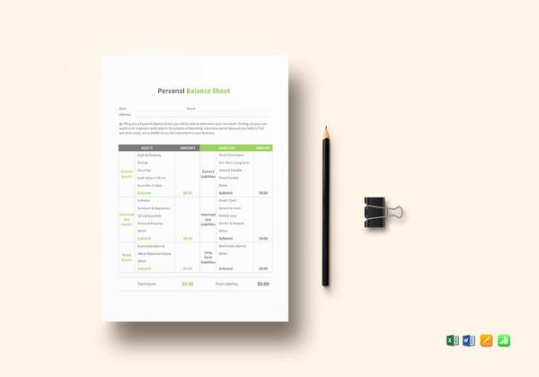personal balance sheet template
