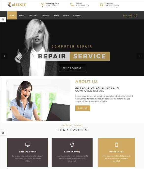 phone digital and computer repair shop website tem