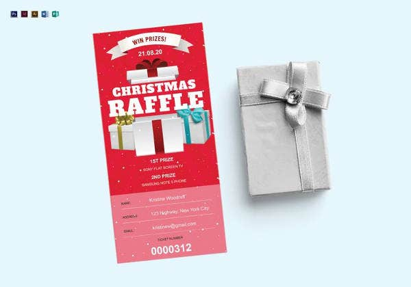 printable christmas raffle ticket template
