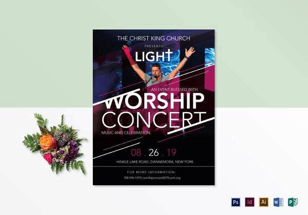 printable church worship concert flyer template