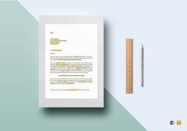 printable employment offer letter template