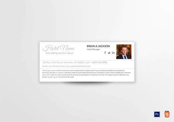 printable hotel manager email signature