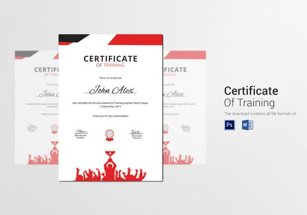 prize winner training certificate design template