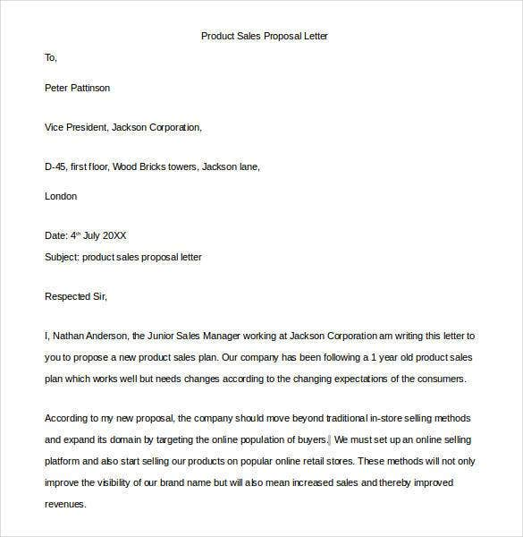 Proposal Letter Template 24 Free Word PDF Document Formats – Sales Proposal Letter Example