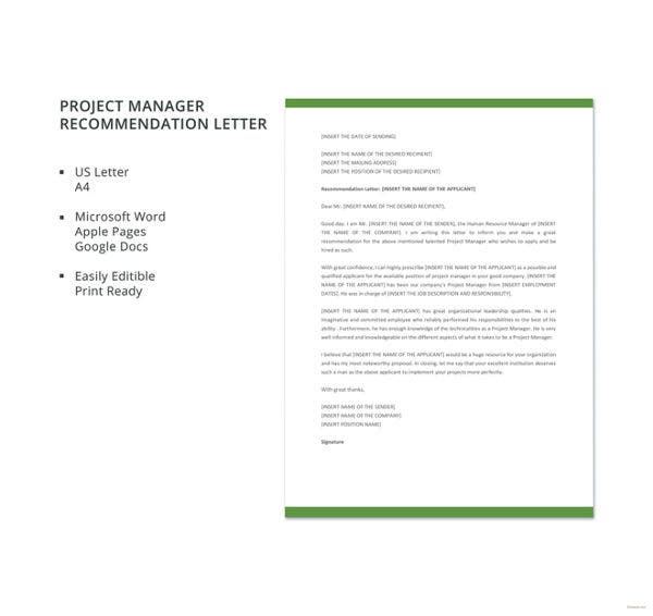 project manager recommendation letter template