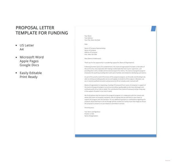 Proposal Letter Template - 24+ Free Word, PDF Document Formats ...