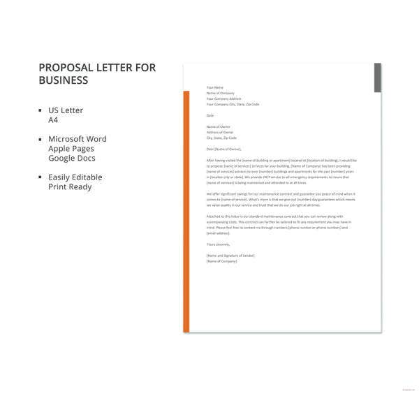 proposal letter for business template