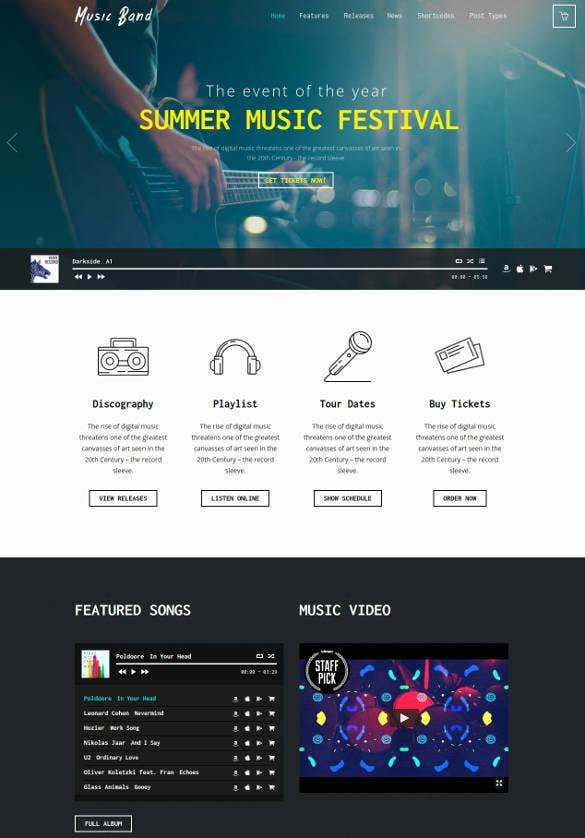 radio music band wordpress theme1