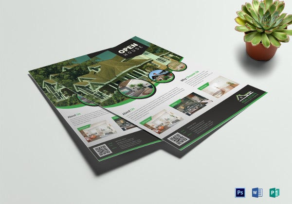 real estate open house flyer template in psd